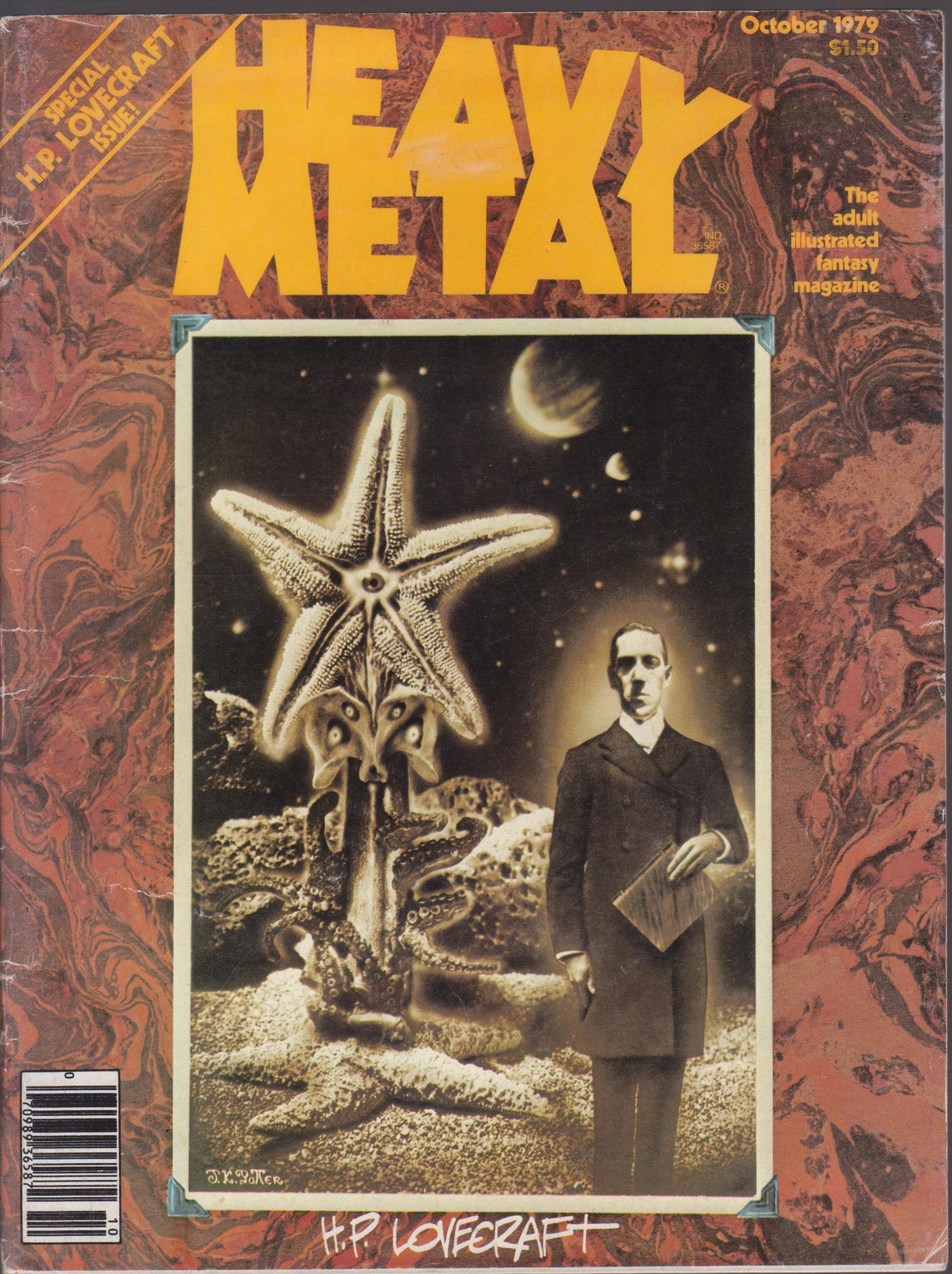 cover image of HEAVY METAL The Adult illustrated Fantasy Magazine - October 1979 - Special H P LOVECRAFT Issue