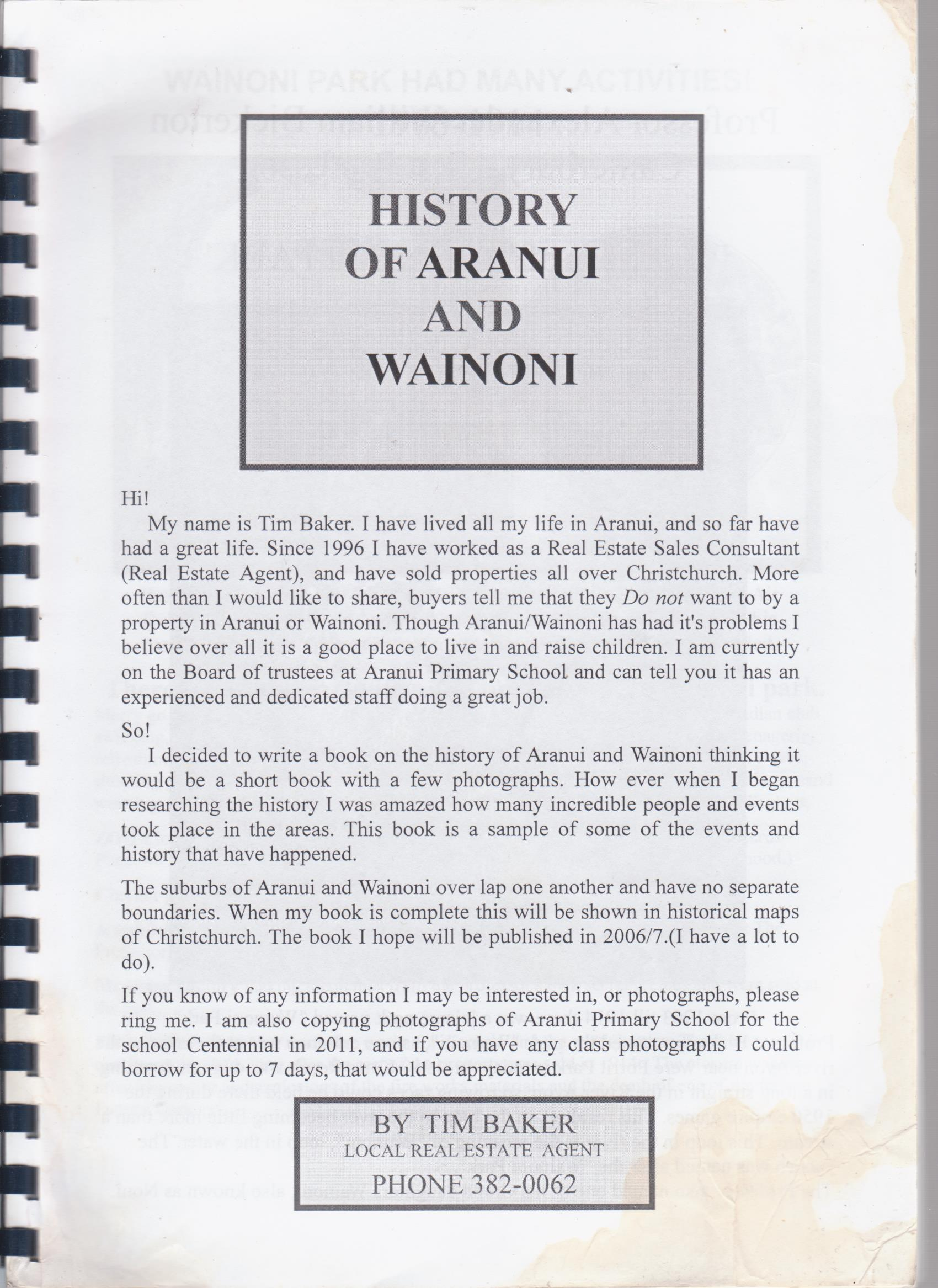 cover image of History of Aranui and Wainoni for sale in New Zealand